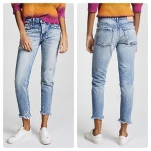Moussy Kelley Tapered Distressed Skinny Crop Jeans